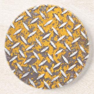 Rusted Diamond Plate Metal Coaster
