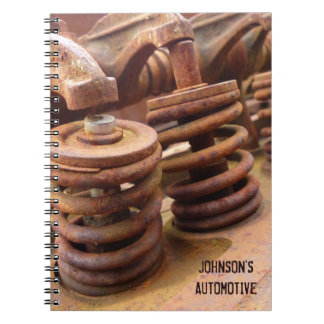 Rusted Engine Parts Manly Automotive Theme Spiral Note Books