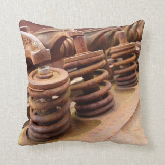 Rusted Engine Parts Manly Automotive Theme Throw Pillow