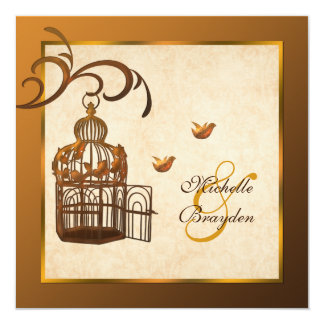 Rusted Iron Birdcage and Lovebirds Wedding Invite