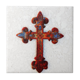 Rusted Iron Cross Christian Gifts Tile