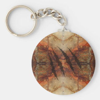 Rusted Metal Claw Rip Pattern Basic Round Button Keychain