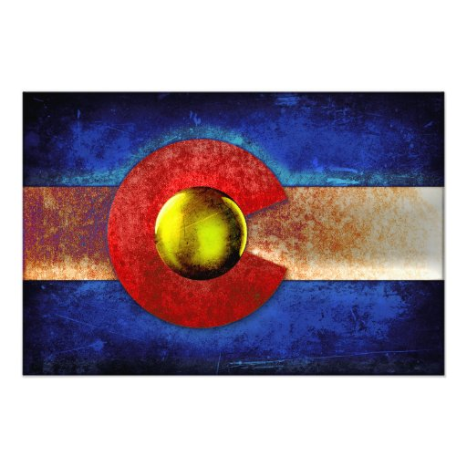Rusted Metal Colorado Flag Photographic Print