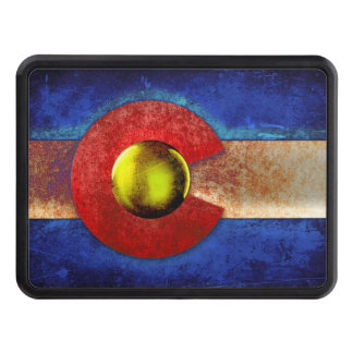 Rusted Metal Colorado Flag Tow Hitch Covers