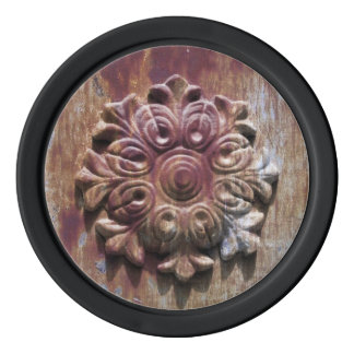Rusted metal rosette old gate decoration picture set of poker chips