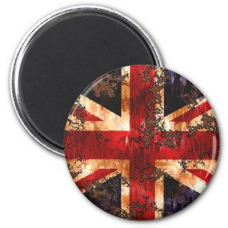 Rusted Patriotic United Kingdom Flag 2 Inch Round Magnet