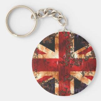 Rusted Patriotic United Kingdom Flag Basic Round Button Keychain
