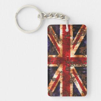 Rusted Patriotic United Kingdom Flag Double-Sided Rectangular Acrylic Keychain