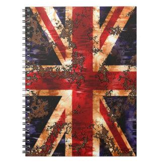 Rusted Patriotic United Kingdom Flag Notebook