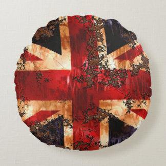 Rusted Patriotic United Kingdom Flag Round Pillow