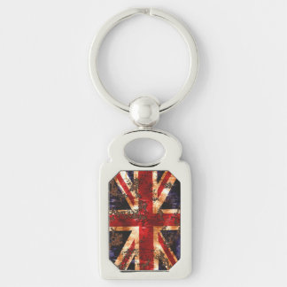 Rusted Patriotic United Kingdom Flag Silver-Colored Rectangle Keychain