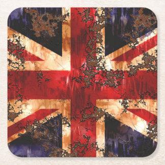 Rusted Patriotic United Kingdom Flag Square Paper Coaster
