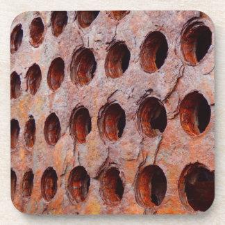 Rusted Perforated Metal Hard Plastic Coasters