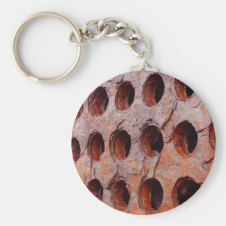 Rusted Perforated Metal Key Ring Basic Round Button Keychain