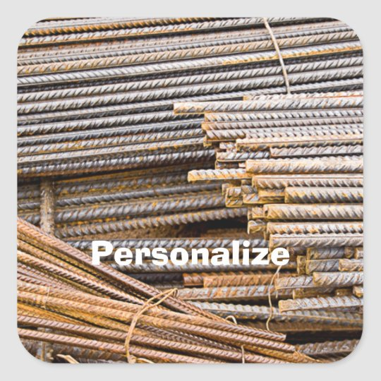 RUSTED REBAR METAL RODS SQUARE STICKER