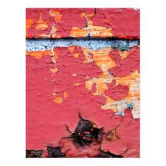 Rusted Red Peeling Paint Postcard