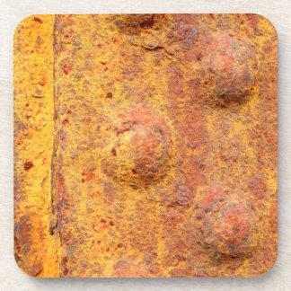 Rusted Riveted Metal Hard Plastic Coasters