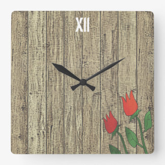 Rusted Wood Texture Fence Red Tulip Flower Chic Square Wall Clock