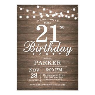 Rustic 21st Birthday Invitation String Lights Wood