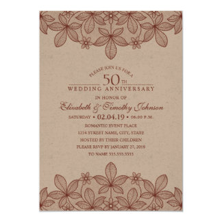 Rustic 50th Wedding Anniversary Vintage Lace Craft Card