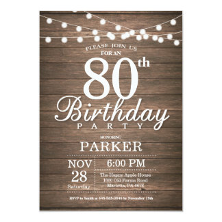 Rustic 80th Birthday Invitation String Lights Wood