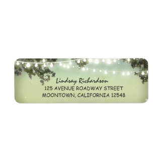 rustic address label with string lights