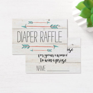 Rustic Adorned with Arrows | Diaper Raffle Business Card