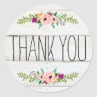 Rustic Adorned with Floral | Thank You Sticker