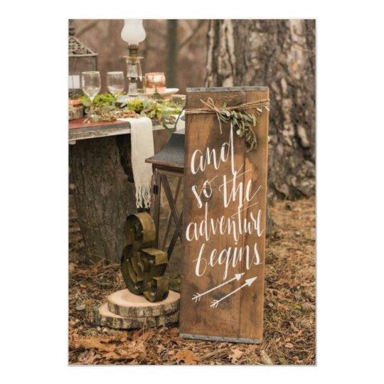 Rustic adventure begins sign on wedding invitation