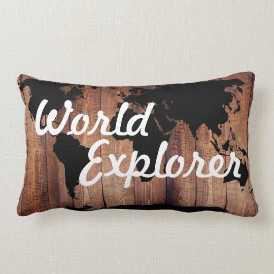 Rustic Adventure World Explorer World Map Dark Lumbar Pillow