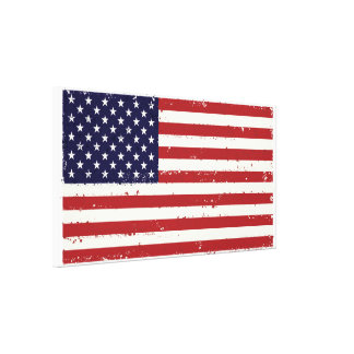 Rustic American 50 Star Flag Wrapped Canvas