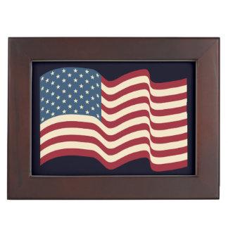 Rustic American Flag Keepsake Box