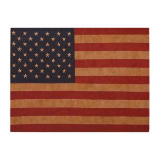 Rustic American Flag on Wood. Wood Print