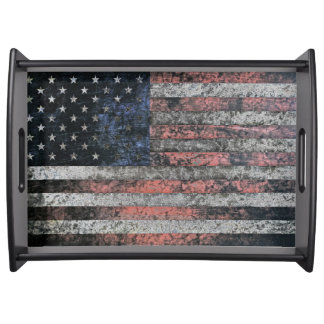Rustic American Flag Serving Tray