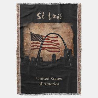 Rustic American Flag St. Louis Skyline Landmark Throw Blanket