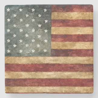 Rustic American Flag Stone Coaster