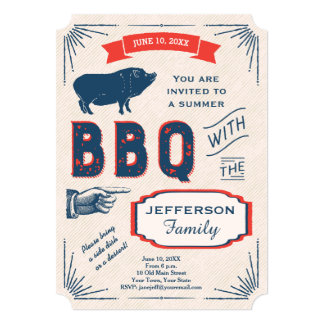 Rustic American Summer BBQ Party Card