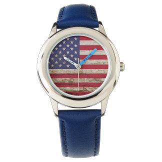 Rustic American United States Flag Patriotic Watch