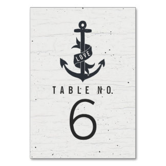 Rustic Anchor Table Number Cards