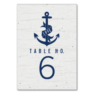 Rustic Anchor Table Number Cards / Navy