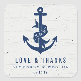 Rustic Anchor Wedding Favor Stickers / Navy