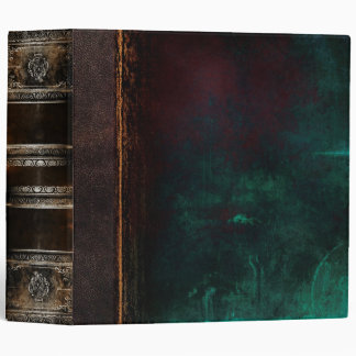 Rustic Ancient Tome Faux Black & Turquoise Vinyl Binder