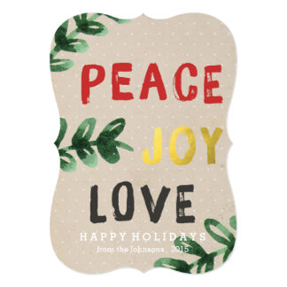 Rustic and Gold Peace Joy Love Holiday Card