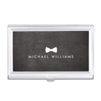 Rustic and Refined Men's Classic Bow Tie Logo Business Card Holder