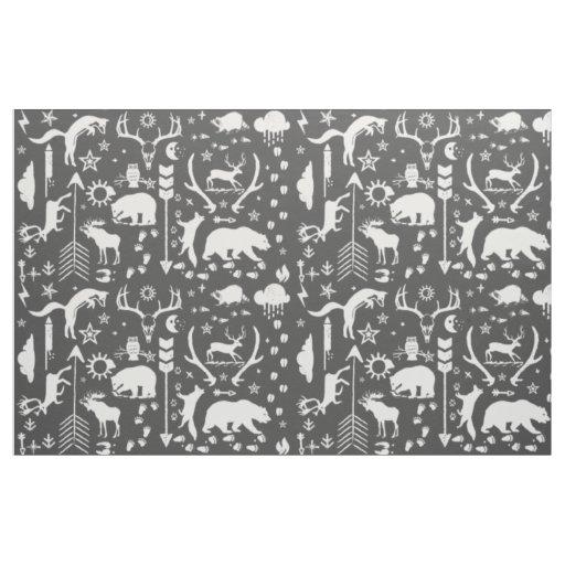 Rustic Animal Track Bear Deer Fox Woodland Pattern Fabric
