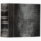 Rustic Antique Ancient Tome Faux Black Leather 3 Ring Binder