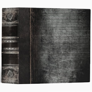 Rustic Antique Ancient Tome Faux Black Leather Binders