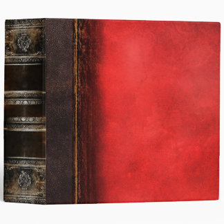 Rustic Antique Ancient Tome Faux Red Leather Binders