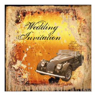 "Rustic antique car western Country Wedding 5.25"" Square Invitation Card"