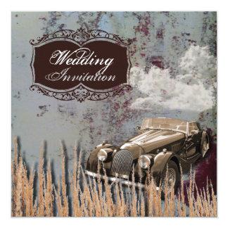 Rustic antique car western Country Wedding Card